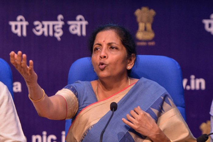 Finance Minister Nirmala Sitharaman at a press meet in New Delhi. (AFP Photo)