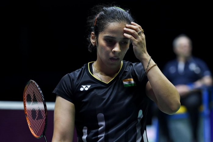 Olympic bronze medallist Saina Nehwal crashed out of the BWF World Championships after suffering a three-game loss to Mia Blichfeldt of Denmark. (AFP Photo)