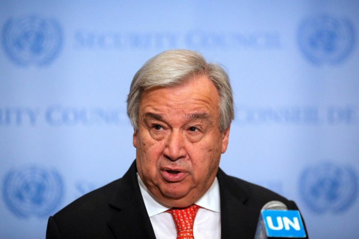 United Nations Secretary-General Antonio Guterres speaks at the Security Council stakeout at the United Nations headquarters in New York, U.S. (Reuters Photo)