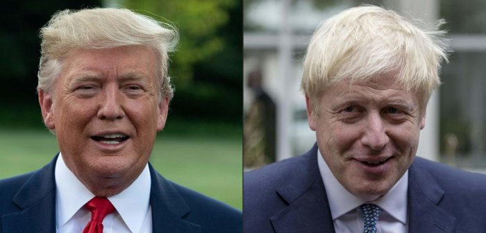 US President Donald Trump and UK Prime Minister Boris Johnson. AFP file photo