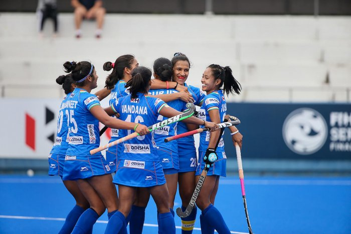 Indian players celebrate after scoring a goal during the women's hockey match between India and Japan at the Olympic Test Event in Tokyo. (PTI Photo)