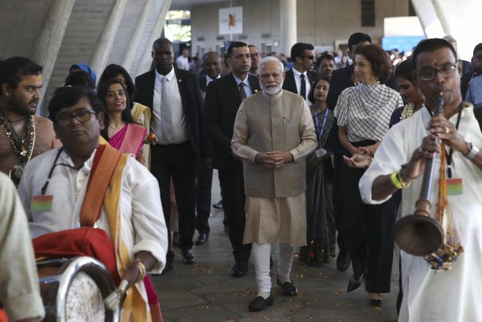 Indian Prime Minister Narendra Modi arrives with UNESCO'S Director-General Audrey Azoulay, second right, Friday, Aug. 23, 2019 in Paris at the United Nations Educational, Scientific and Cultural Organization (UNESCO) headquarters. AP/PTI photo