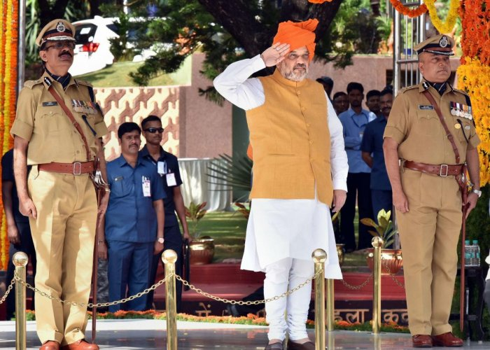 Hyderabad: Home Minister Amit Shah reviews the 'Dikshant Samaroh' (passing out parade) of IPS probationers at National Police Academy in Hyderabad. (PTI Photo)