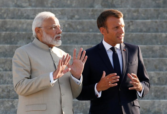 A meeting between Modi and Macron in Paris saw Indian Space Research Organization and the Centre National d'études Spatiales or CNES agreeing on a plan for implementing a March 2018 agreement. (Photo credit: Reuters)