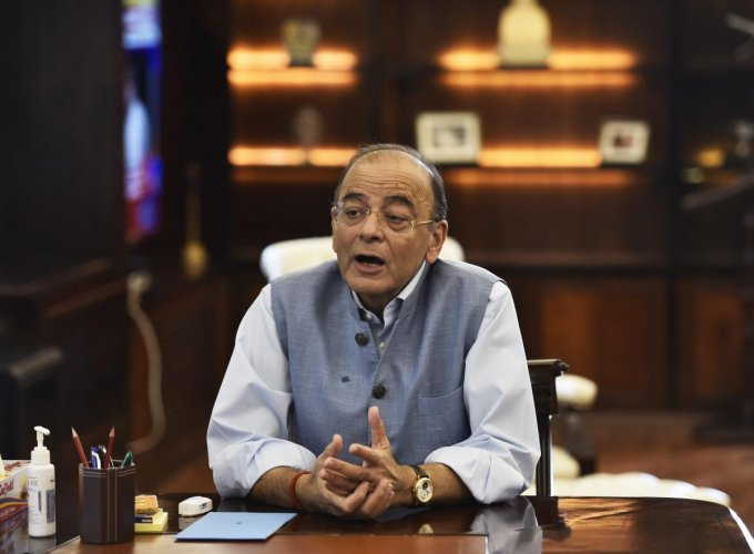 Senior BJP leader Arun Jaitley at his office after he resumed duty as Minister for Finance and Corporate Affairs, at North Block in New Delhi on Thursday. Jaitley had stepped aside as Finance Minister in mid-May to undergo a kidney transplant.