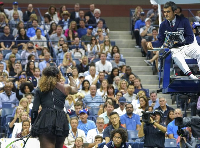 Serena Williams argues with Carlos Ramos during her match with Naomi Osaka at the U.S. Open women's final in New York. (File Photo)