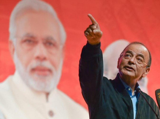 New Delhi: Union Finance Minister Arun Jaitley addresses a session at the two-day BJYM National Workshop, in New Delhi, Saturday, Dec 15, 2018. (PTI Photo/Kamal Kishore) (PTI12_15_2018_000082B)