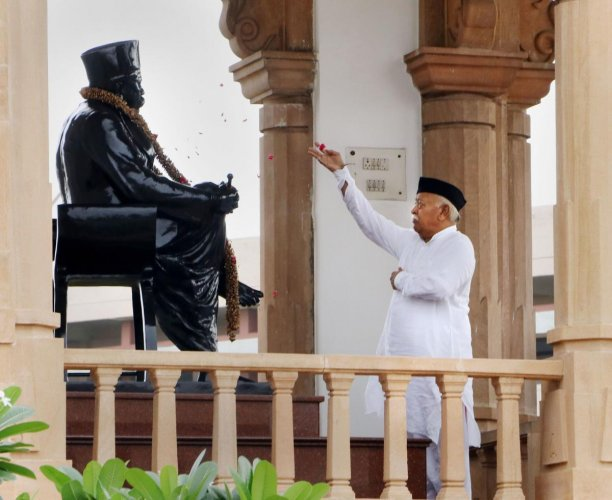 RSS chief Mohan Bhagwat pays homage to a statue of Rashtriya Swayamsevak Sangh (RSS) leader K.B. Hedgewar during the 73rd Independence Day celebration at RSS headquarters, in Nagpur, Maharashtra. PTI Photo