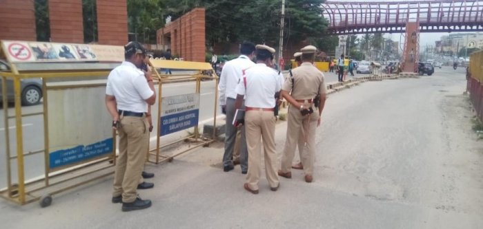 The HAL traffic police inspect RMZ Ecoworld area on Thursday. Special Arrangement