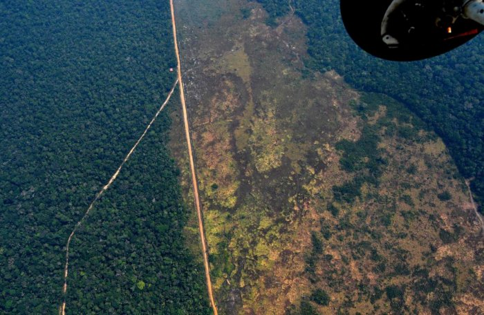 Aerial picture showing a deforested piece of land in the Amazon rainforest near an area affected by fires, about 65 km from Porto Velho, in the state of Rondonia, in northern Brazil. (AFP Photo)