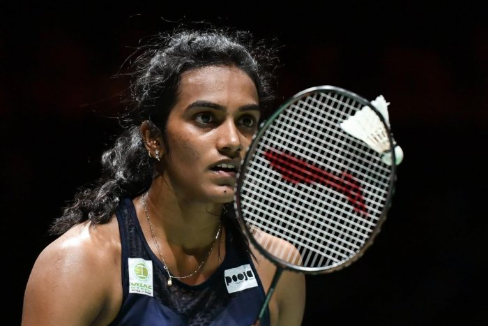 India's PV Sindhu in action against China's Chen Yu Fei during their women's singles semifinal at the World Championships in Basel on Saturday. AFP