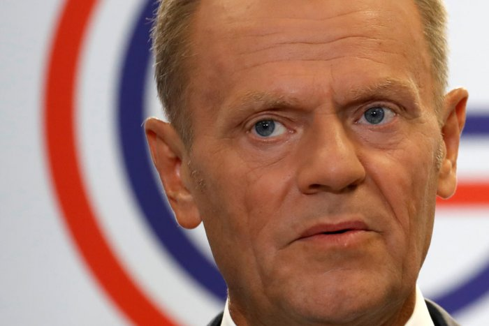 European Council President Donald Tusk speaks during a news conference on the margins of the G7 summit in Biarritz, France (Reuters photo)