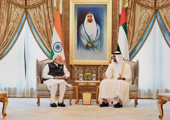 Prime Minister Narendra Modi with Crown Prince of the Emirate of Abu Dhabi and Deputy Supreme Commander of the United Arab Emirates Armed Forces Sheikh Mohammed bin Zayed Al Nahyan during a meeting, in Abu Dhabi, Saturday. PTI photo