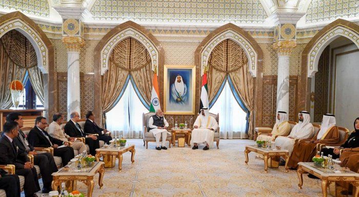 The postage stamps were issued at the Presidential Palace in Abu Dhabi during Prime Minister Modi's visit. (PIB/PTI Photo)