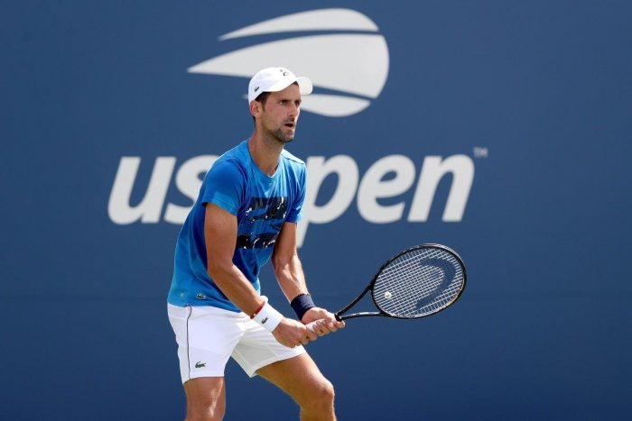 NEW YORK, NEW YORK - AUGUST 22: Novak Djokovic of Serbia practices for the US Open at the USTA Billie Jean King National Tennis Center on August 22, 2019 in New York City. Matthew Stockman/Getty Images/AFP