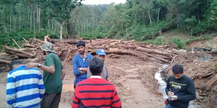 A team of geologists visited the landslide-affected areas in Chikkamagaluru.