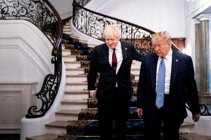 US President Donald Trump and Britain's Prime Minister Boris Johnson arrive for a bilateral meeting during the G7 summit in Biarritz, France. Reuters file photo