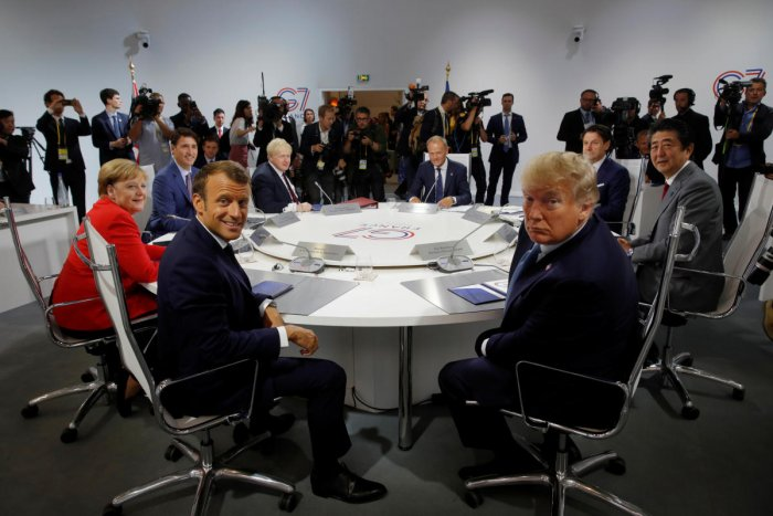 French President Emmanuel Macron, US President Donald Trump, Japan's Prime Minister Shinzo Abe, Britain's Prime Minister Boris Johnson, German Chancellor Angela Merkel , Canada's Prime Minister Justin Trudeau, Italy's acting Prime Minister Giuseppe Conte