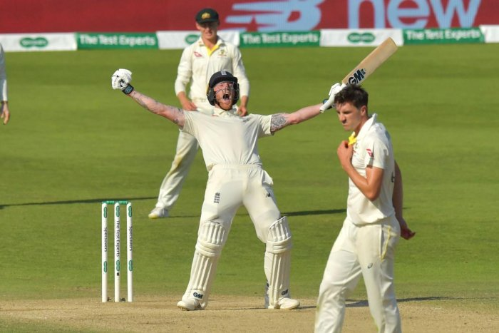 Ben Stokes celebrates hitting the winning runs on the fourth day of the third Ashes cricket Test match between England and Australia at Headingley in Leeds. (AFP Photo)