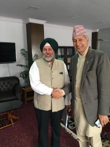 Ambassador Shri Manjeev Singh Puri calls on the Finance Minister of Nepal Mr. Yubaraj Khatiwada. (Photo