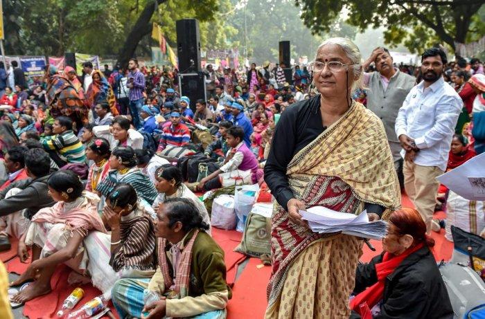 Social activist Medha Patkar during the 'Jashn-e-Samvidhan' at Jantar Mantar, in New Delhi, Monday, Dec. 10, 2018.(PTI Photo/Manvender Vashist)
