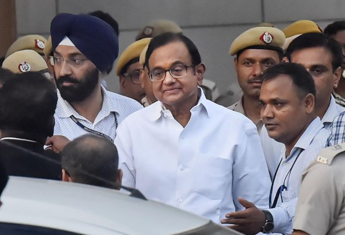 New Delhi: Senior Congress leader and former finance minister P Chidambaram after he was produced in a CBI court in the INX media case, in New Delhi. (PTI Photo)