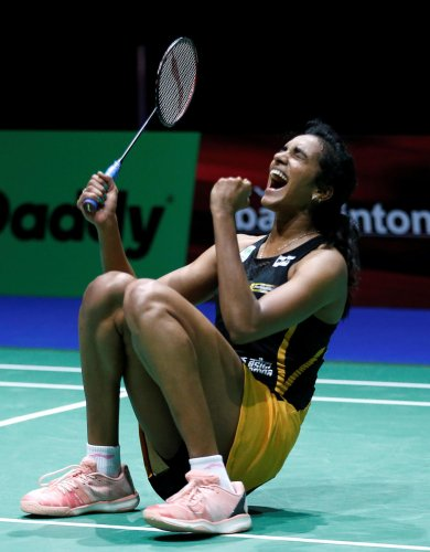 India's Pusarla V. Sindhu celebrates winning her quarter-final women's singles match against Chinese Taipei's Tai Tzu Ying REUTERS/Vincent Kessler