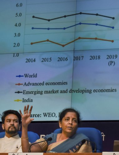 Finance Minister Nirmala Sitharaman and MoS for Finance Anurag Thakur during a press conference in New Delhi, Friday, Aug 23, 2019. (PTI Photo)