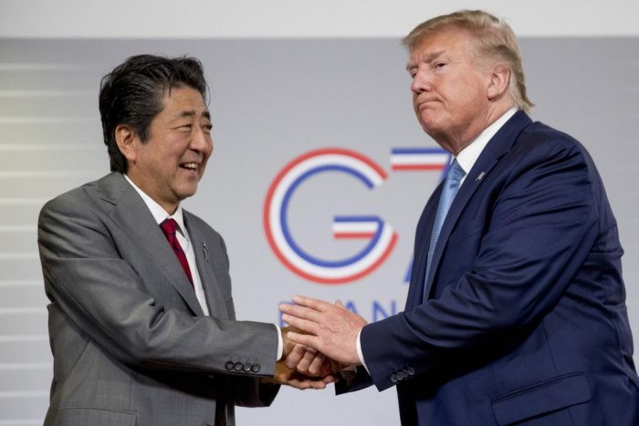U.S President Donald Trump and Japanese Prime Minister Shinzo Abe (L), announced that the U.S. and Japan have agreed in principle on a new trade agreement, at the G-7 summit in Biarritz, France, Sunday, Aug. 25, 2019 (Photo by AP/PTI)