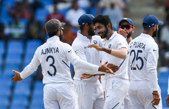 India inflicted a humiliating 318-run defeat on the West Indies in the first Test as Jasprit Bumrah dismantled the hosts with a five wicket haul after Ajinkya Rahane found his first century in two years, here on Sunday. (AFP Photo)