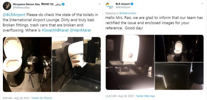 Former foreign secretary Nirupama Rao took to Twitter to complain about the poor condition of toilets in KIA international lounge.