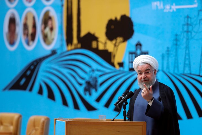 Rouhani's remarks came as his government faced criticism over the visit of Foreign Minister Mohammad Javad Zarif to the French seaside resort of Biarritz (Reuters/Handout Photo)