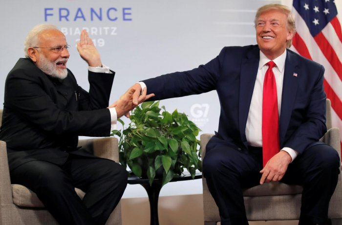 Prime Minister Narendra Modi with US President Donald Trump at the G7 summit in Biarritz, France. (Reuters Photo)