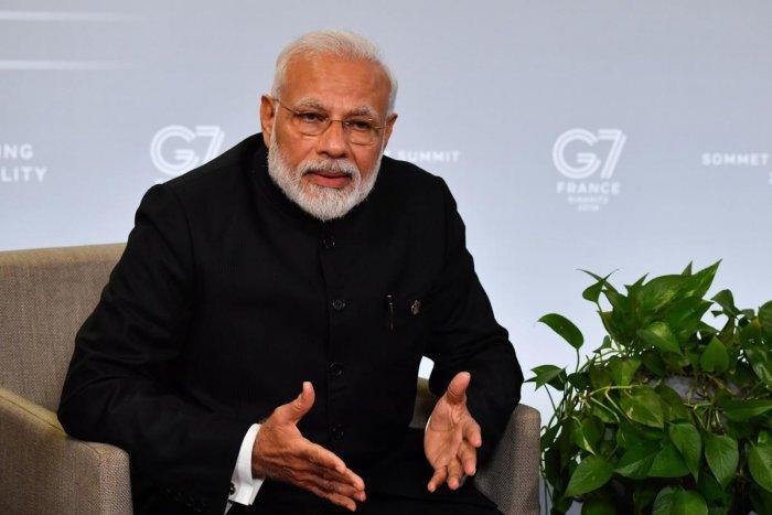 Narendra Modi speaks in the annual G7 Summit. (AFP Photo)