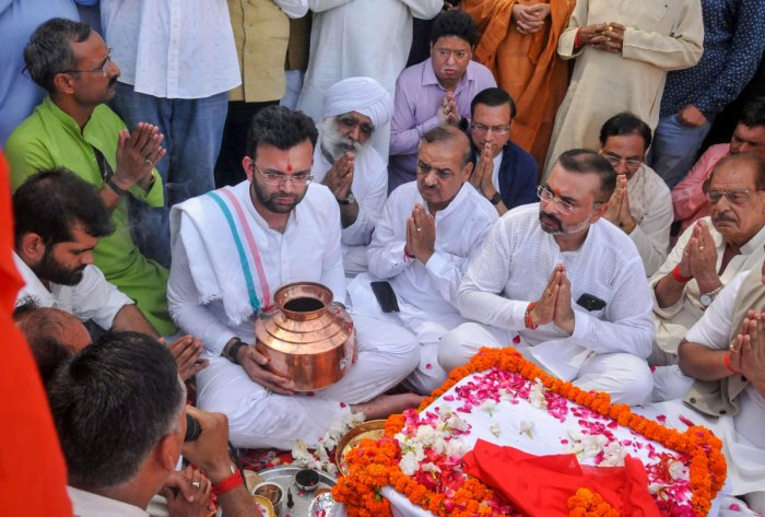 The ashes of former Union minister Arun Jaitley were immersed in the Ganga at Haridwar. (PTI Photo)