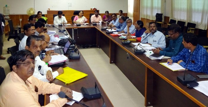 Udupi-Chikmagalur MP Shobha Karandlaje chairs a meeting at Deputy Commissioner's office in Manipal on Monday.