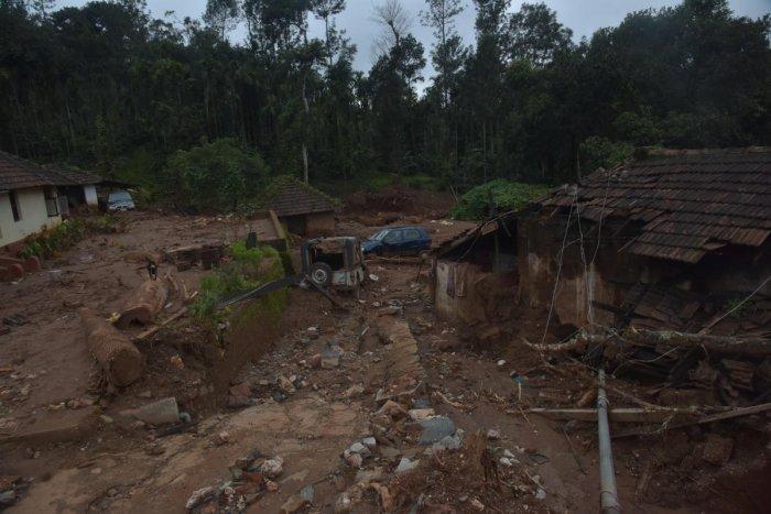 The damaged homes and snapped power lines, following landslides, have torn many live asunder at Malemane near Kottigehara in Mudigere taluk of Chikkamagaluru district. dh photo/B H Shivakumar