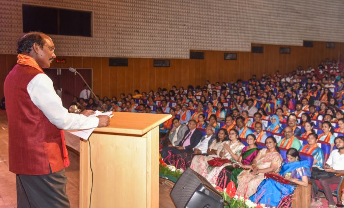 Indian Space Research Organisation (Isro) chairperson K Sivan speaks at ninth convocation of Jain University (Deemed-to-be University) in Bengaluru on Monday. DH Photo
