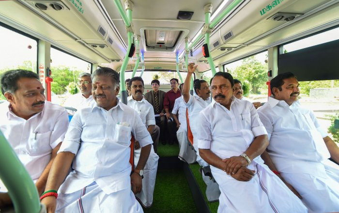 Tamil Nadu Chief Minister Edappadi K Palaniswami sits in an electric bus for the MTC on a trial basis, at Fort St. George in Chennai. (PTI Photo)