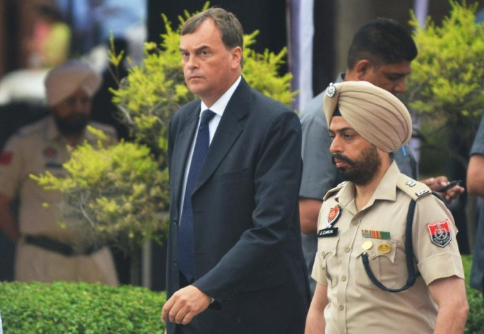 Britain's High Commissioner to India Dominic Asquith (L). AFP file photo
