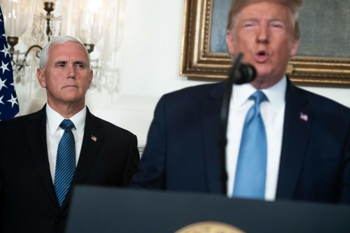 US President Donald Trump speaks alongside Vice President Mike Pence about the mass shootings from the Diplomatic Reception Room of the White House in Washington, DC, August 5, 2019. (Photo by SAUL LOEB / AFP)