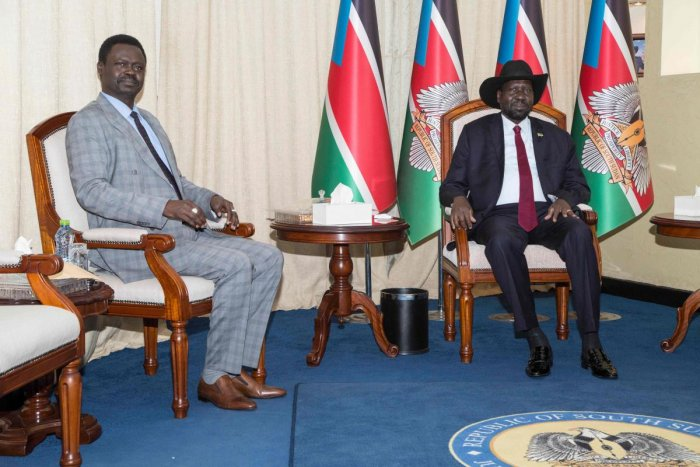 Leader of the Sudan Liberation Moment/Army (SLM/A) in Darfur Minni Arko Minnawi (L) sits with South Sudan's President Salva Kiir (R) during their meeting at the state House in Juba. (AFP Photo)