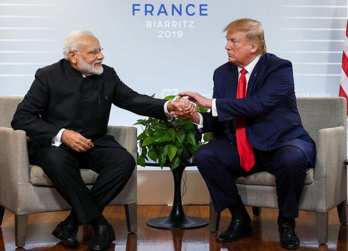 Biarritz: Prime Minister Narendra Modi with US President Donald Trump. (PTI Photo)