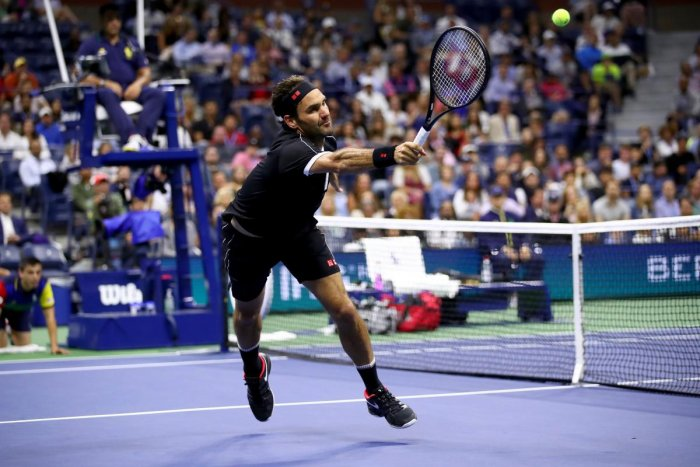Roger Federer of Switzerland returns a shot against Sumit Nagal of India during their Men's Singles first round match on day one of the 2019 US Open at the USTA Billie Jean King National Tennis Center in the Flushing neighborhood of the Queens borough of New York City. Photo/AFP