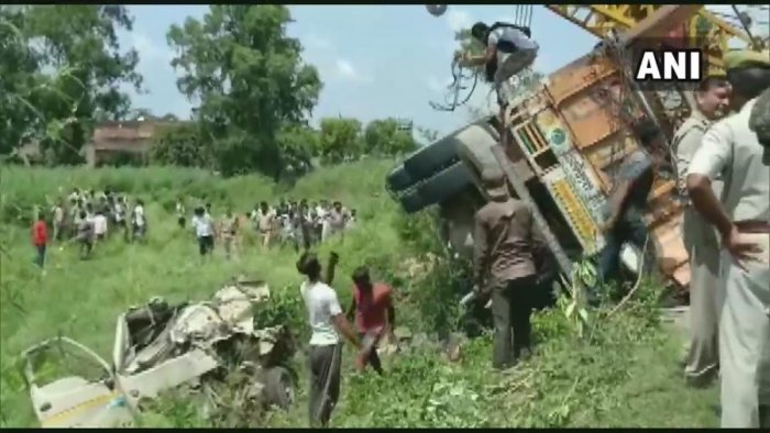 The accident took place on Jamka crossing when a speeding truck hit a tempo and another van and then overturned, SP (City) Dinesh Tripathi said. Photo/ANI