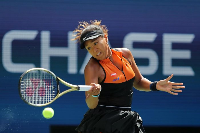 Naomi Osaka of Japan returns a shot against Anna Blinkova of Russia during their Women's Singles first round match on day two of the 2019 US Open at the USTA Billie Jean King National Tennis Center on August 27, 2019 in the Flushing neighborhood of the Queens borough of New York City. Elsa/Getty Images/AFP