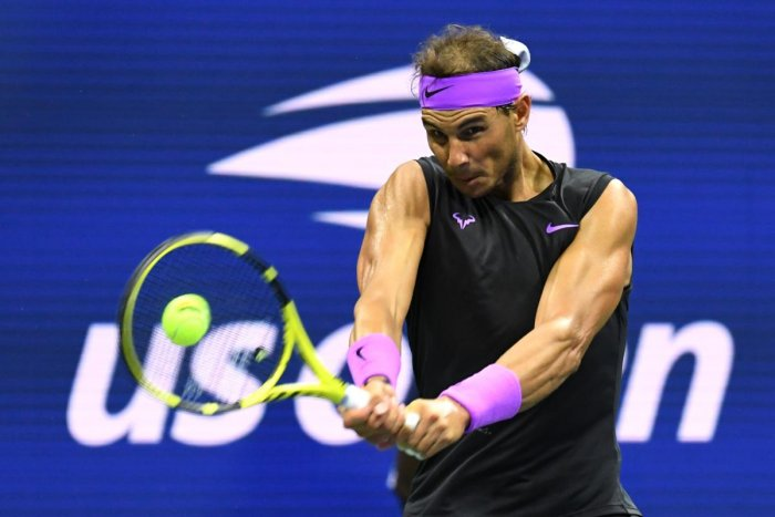 Rafael Nadal of Spain returns a shot against John Millman of Australia during their Men's Singles first round match on day two of the 2019 US Open at the USTA Billie Jean King National Tennis Center on August 27, 2019 in the Flushing neighborhood of the Q