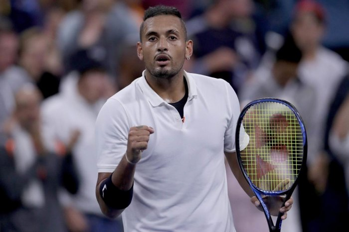 Nick Kyrgios celebrates his win during his Men's Singles first round match against Steve Johnson of the United States on day two of the 2019 US Open. Matthew Stockman/Getty Images/AFP