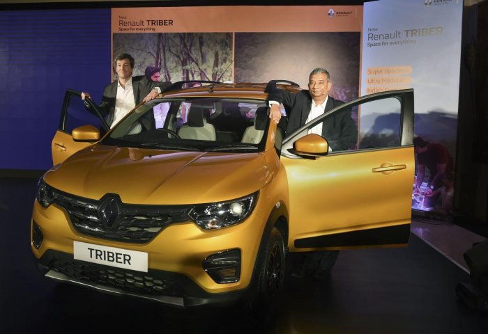Renault India CEO & MD Venkatram Mamillapalle (R) and VP-Sales & Marketing Thomas Dubruel during the launch of the company's all new car 'TRIBER'. (PTI Photo)