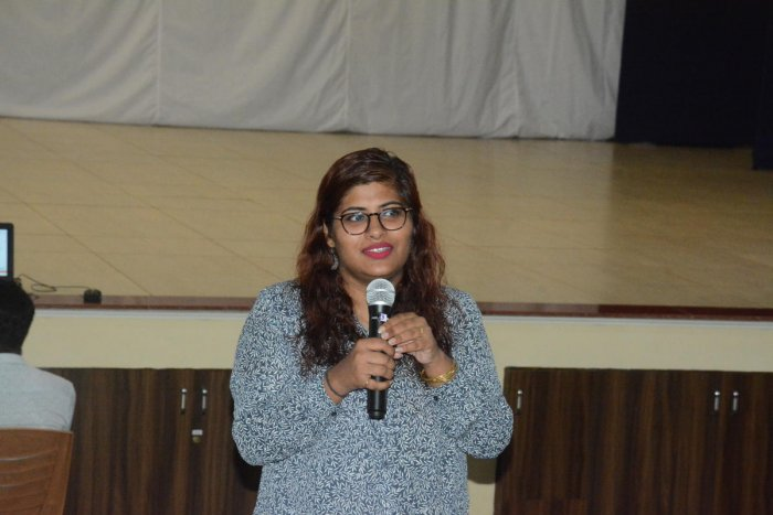 Janice Verghese of Cyber Peace Foundation addresses students at Little Rock Indian School in Brahmavar.
